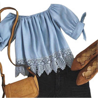 Women's Crochet Lace Trim Short Sleeve Denim Blue Blouse with ties