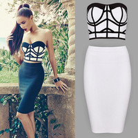 Sexy Women Bandage Bodycon Dress Evening Party Cocktail Prom Two piece Dress = 1955589636