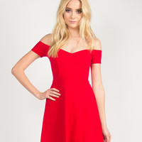 Fit and Flare Off the Shoulder Dress - Red