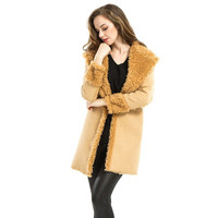 Winter 2016 fashion show double face fur coat like top quality luxury women's wide waist long coat fur jacket long sleeves