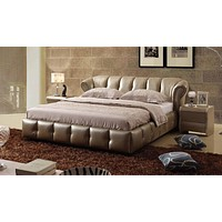 Royal Wide Leather Shine Bed For Home Furniture
