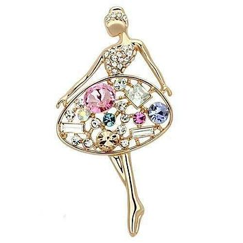 Vintage Brooches LO2818 Flash Rose Gold White Metal Brooches with Crystal