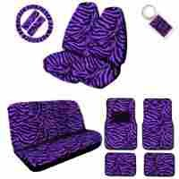 A Set of 2 Universal Fit Animal Print High Back Front with Universal Bench Seat Covers, Wheel Cover, 2 Shoulder Pads 4 Floor Mats, and 1 Key Fob - Zebra Purple