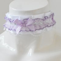 Kitten play collar - Pearled babe - ddlg cgl little princess lolita choker pet - kawaii cute fairy kei harajuku lolita white and purple