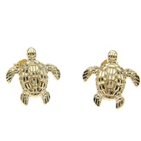 12MM 14K YELLOW GOLD SPARKLY DIAMOND CUT HAWAIIAN SEA TURTLE HONU STUD EARRINGS