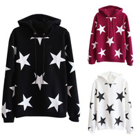 Star Pattern Drawstring Hoodie Jacket