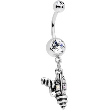 Clear Aurora Gem Mystery Ray Gun Dangle Belly Ring