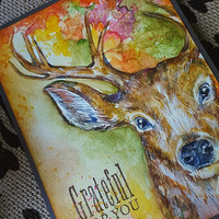Stag in Autumn, OOAK, Watercolor Card, NOT A PRINT, Original Handpainted, Handmade Greeting Card,