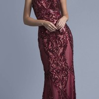 Sequins Evening Gown V-Neck with Spaghetti Straps Burgundy