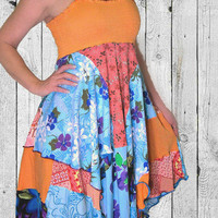 Hippie Sundress, Eco-Friendly Upcycled! ON SALE-20% OFF! OOAK, 100% Handmade Dress, Altered Clothing by Pandora's Passions