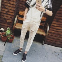 Male Fashion Spaghetti Strap Pants Spring and Autumn Bib Coveralls Straight Casual Long Mens Overalls Korean Jumpsuit Men