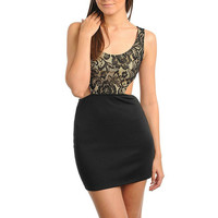 Lace Cut-Out Mini Bodycon Dress in Beige & Black