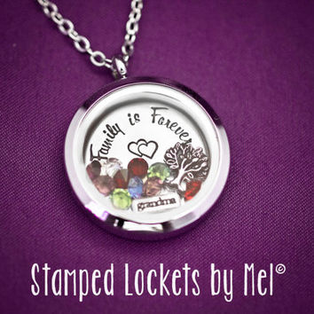 Family is Forever - Grandmother's Necklaces - Hand Stamped Stainless Steel Locket - Grandkid's Birthstones - Personalized Jewelry - Nana