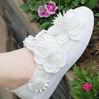 White Round Toe Flat Flower Casual Ankle Shoes