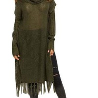COLROVIE Fall Ladies Olive Green Cowl Neck Loose Knit Longline Fringe Long Sleeve Sexy Side Split Sweater