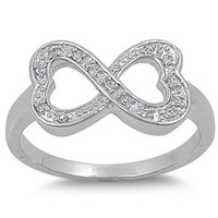 Sterling Silver Double Heart CZ Infinity Ring