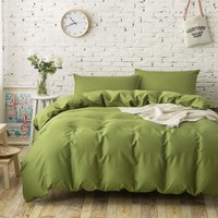 4PC 100% Cotton plain solid color bedding sets army green duvet covers single twin full queen king size bed sheets linen