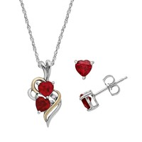 Lab-Created Ruby & Diamond Accent Sterling Silver & 14k Gold Heart Pendant Necklace & Stud Earring Set (Red)