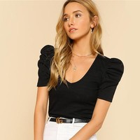 Puff Sleeve Rib Knit T-shirt V Neck Short Sleeve Tee Women Black Elegant Slim Stretchy Regular Tops