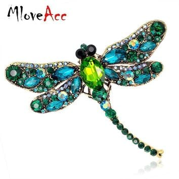 Vintage Design Shinny 6 Colors Crystal Rhinestone Dragonfly Brooches for Women Dress Scarf Brooch Pins Jewelry Accessories Gift
