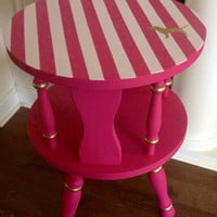 Victoria's Secret Pink Inspired Round Side Table