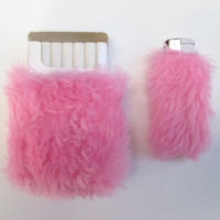 Kawaii Cigarette Case. Girly Lighter Case. Baby Pink Faux Fur Cigarette Holder.