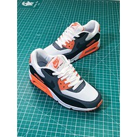 Nike Air Max 90 Essential White Grey Orange Sport Running Shoes- Sale
