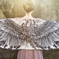 Women's Scarf - Hand painted Wings and feathers - Can be worn as a scarf, wrap, top or skirt