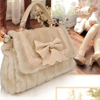 New Lovely Leather Bowknot Lace Bag