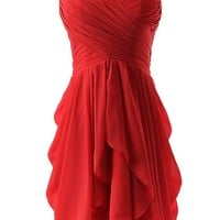 Dressystar Short Strapless chiffon party dress evening dress Red 4