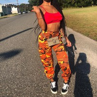 HeyounGIRL Women Camouflage Pants Casual Pink Camo Sweatpant Fashion Gray Orange Camo Pants High Waist Loose Ladies Trousers