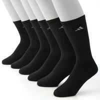 adidas 6-pk. ClimaLite Crew Performance Socks, Size: 10-13 (Black)
