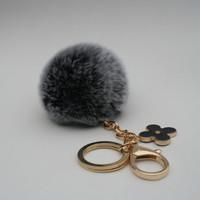 PREORDER Pom-Perfect Black REX Rabbit fur pom pom ball with black flower keychain