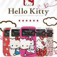 Hello Kitty Window View Cute Flip Cover for Galaxy S4