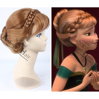 Free Cap + For Adults/Kids Princess Frozen Snow Queen Anna Updo Cosplay Wig Anna Wig Frozen Movie Cosplay Convention