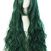 """MapofBeauty 32"""" 80cm Long Hair Spiral Curly Cosplay Costume Wig (Forest Green)"""