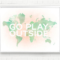 Go Play Outside watercolor map unisex spring / by JumpOffThePage