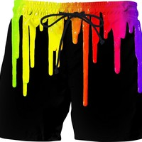 Dripping paint on black, colorful swim shorts design