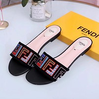 FENDI Embroidery Flat bottom Slipper