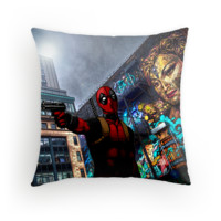 Deadpool in manchester Throw pillow and Tote Bag