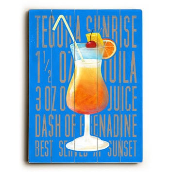 Tequila Sunrise by Artist Cory Steffen Wood Sign