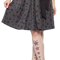 Sourpuss Spider Black Widow Gray Swing Skirt