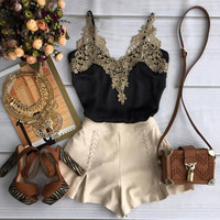 Sling lace piece pants