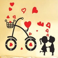 Love Heart Bicycle Kissing Couple Wall Sticker Decal