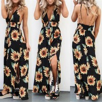 Sunflower Dress For Women Long Maxi Dress Backless Summer Sleeveless Deep V neck Strap Backless Dresses Beach Sundress