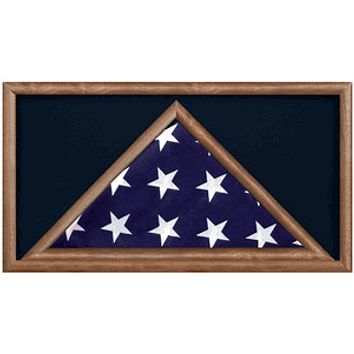 Military Flag And Medal Display Case, Oak Shadow Box