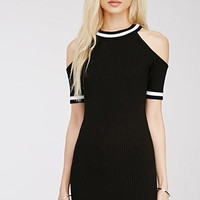 Marled Open-Shoulder Ribbed Dress