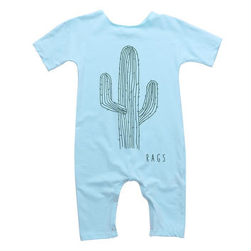 One -piece Cotton Blue Cactus Gray Letter Rompers Toddler Baby Girl Boy Cute Clothes Jumpsuit Outfits