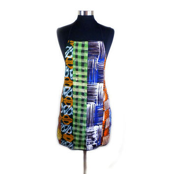 Ghanaian Batik Apron - Colorful Wax Print from Ghana, West Africa