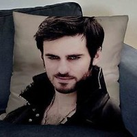 Awsome Design Once upon a time captain hook  white  pillow case 2sides 20x20